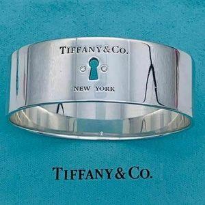 Tiffany & Co. Silver Diamond Keyhole Bangle